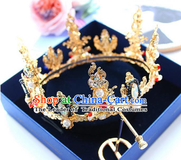 Top Grade Handmade Wedding Bride Hair Accessories Luxury Queen Golden Crown, Traditional Baroque Princess Crystal Royal Crown Wedding Headpiece for Women