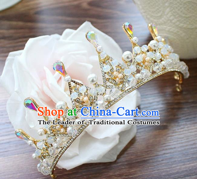 Top Grade Handmade Wedding Bride Hair Accessories Luxury Queen Pearl Crown, Traditional Baroque Princess Crystal Royal Crown Wedding Headpiece for Women