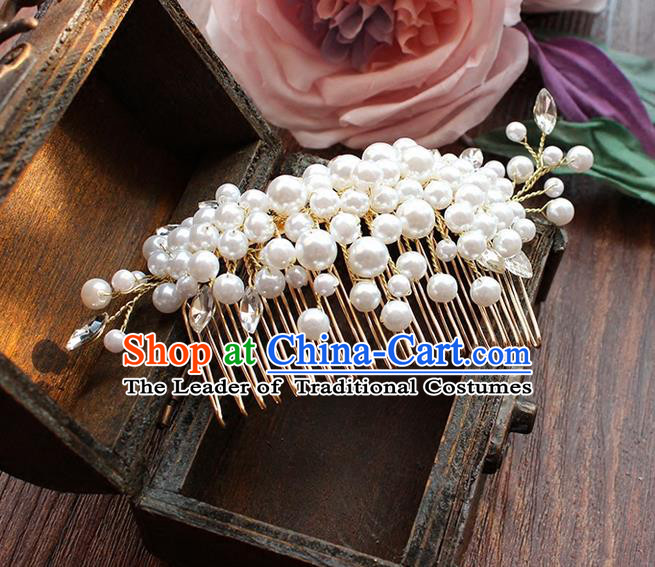 Top Grade Handmade Wedding Bride Hair Accessories Headwear, Traditional Princess Baroque Pearl Hair Comb Headpiece for Women