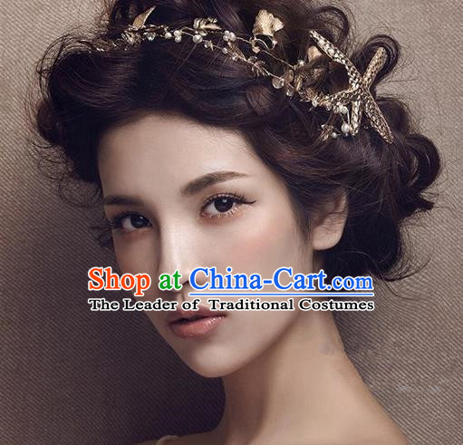 Top Grade Handmade Wedding Bride Hair Accessories Starfish Hair Clasp, Traditional Princess Baroque Hair Band for Women