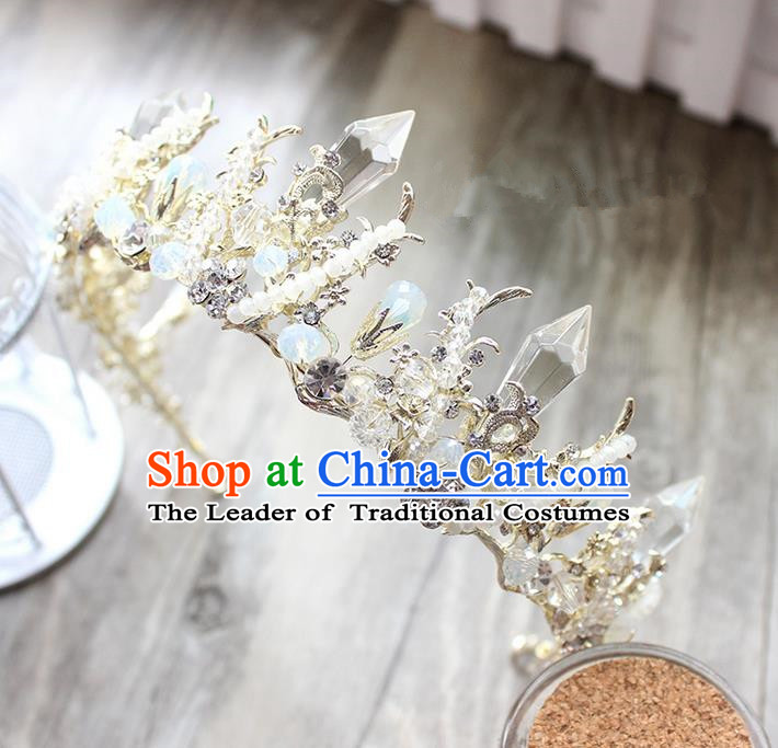 Top Grade Handmade Wedding Bride Hair Accessories Luxury Queen Pearl Crown, Traditional Baroque Princess Crystal Royal Crown Wedding Headwear for Women