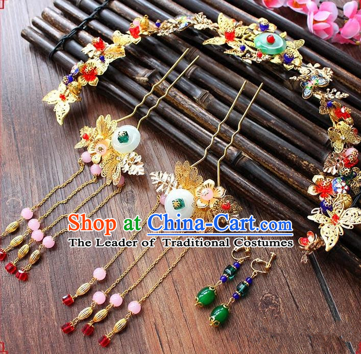 Top Grade Chinese Handmade Wedding Jade Hair Accessories, Traditional China Xiuhe Suit Phoenix Coronet Bride Headwear Hairpins Complete Set for Women
