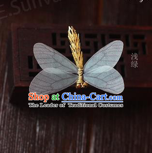Top Grade Handmade Wedding Bride Hair Accessories Barrette, Traditional Princess Baroque Light Green Dragonfly Hair Claw Wedding Headpiece for Women