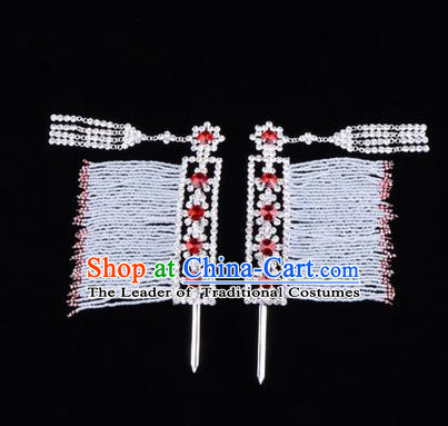 Chinese Ancient Peking Opera Head Accessories Young Lady Diva Red Crystal Hairpins Temples Curtain, Traditional Chinese Beijing Opera Hua Tan Hair Clasp Head-ornaments