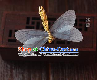 Top Grade Handmade Wedding Bride Hair Accessories Barrette, Traditional Princess Baroque Light Blue Dragonfly Hair Claw Wedding Headpiece for Women