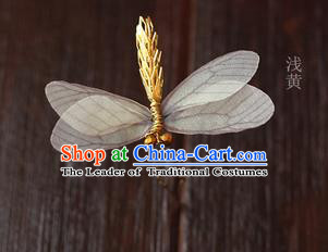 Top Grade Handmade Wedding Bride Hair Accessories Barrette, Traditional Princess Baroque Light Yellow Dragonfly Hair Claw Wedding Headpiece for Women
