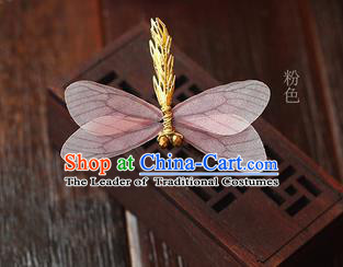Top Grade Handmade Wedding Bride Hair Accessories Barrette, Traditional Princess Baroque Light Pink Dragonfly Hair Claw Wedding Headpiece for Women