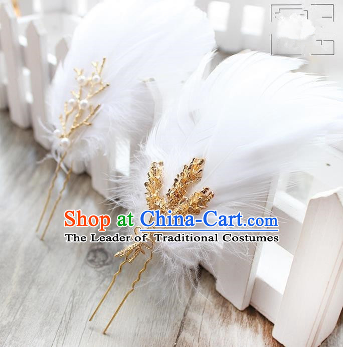 Top Grade Handmade Wedding Bride Hair Accessories Barrette, Traditional Princess Baroque Feather Hair Claw Wedding Headpiece for Women