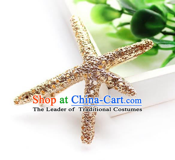 Top Grade Handmade Wedding Bride Hair Accessories Starfish Headwear, Traditional Princess Baroque Hair Claw Wedding Headpiece for Women