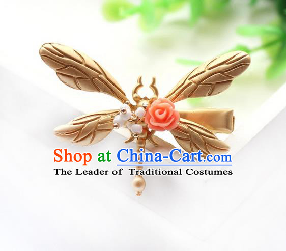 Top Grade Handmade Wedding Bride Hair Accessories Headwear, Traditional Princess Baroque Dragonfly Hair Claw Wedding Headpiece for Women
