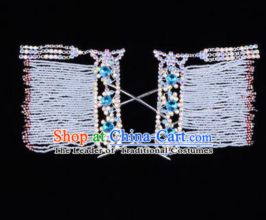 Chinese Ancient Peking Opera Head Accessories Young Lady Diva Blue Crystal Tassel Hairpins Temples Curtain, Traditional Chinese Beijing Opera Hua Tan Hair Clasp Head-ornaments