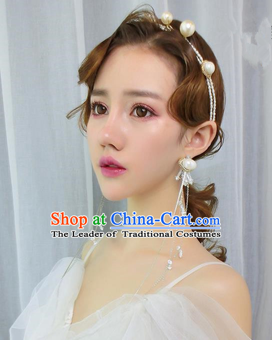 Top Grade Handmade Wedding Bride Hair Accessories Headwear, Traditional Princess Baroque Pearl Hair Clasp Wedding Headpiece for Women