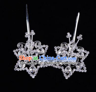 Chinese Ancient Peking Opera Head Accessories Diva White Crystal Hexagonal Hairpins, Traditional Chinese Beijing Opera Princess Hua Tan Hair Clasp Head-ornaments