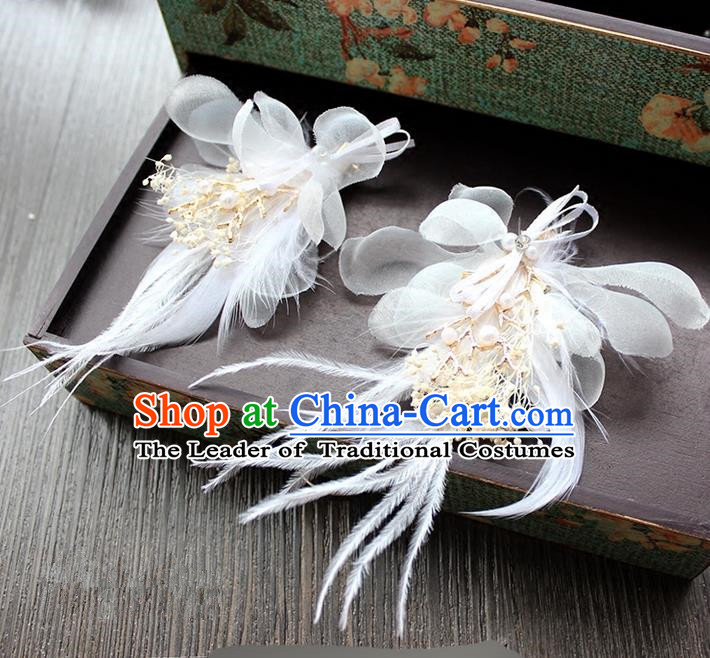 Top Grade Handmade Wedding Bride Hair Accessories Headwear, Traditional Princess Baroque White Feather Hair Claws Headpiece for Women