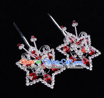 Chinese Ancient Peking Opera Head Accessories Diva Red Crystal Hexagonal Hairpins, Traditional Chinese Beijing Opera Princess Hua Tan Hair Clasp Head-ornaments