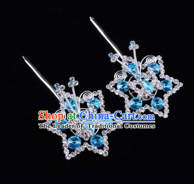 Chinese Ancient Peking Opera Head Accessories Diva Blue Crystal Hexagonal Hairpins, Traditional Chinese Beijing Opera Princess Hua Tan Hair Clasp Head-ornaments