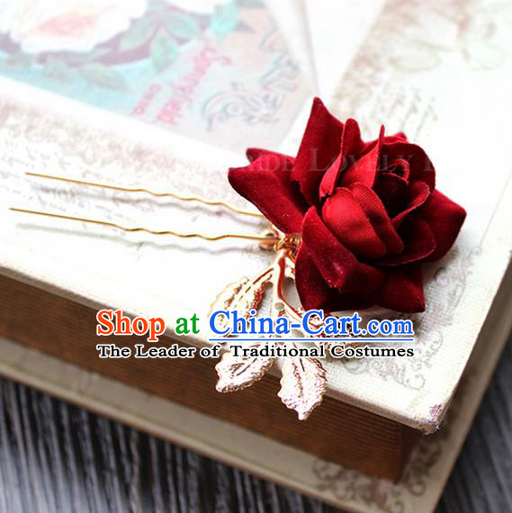 Top Grade Handmade Wedding Bride Hair Accessories Headwear, Traditional Princess Baroque Rose Hairpin Wedding Headpiece for Women