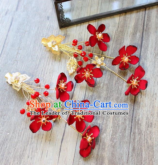 Top Grade Handmade Wedding Bride Hair Accessories Headwear, Traditional Princess Baroque Red Flower Hair Claw Headpiece for Women