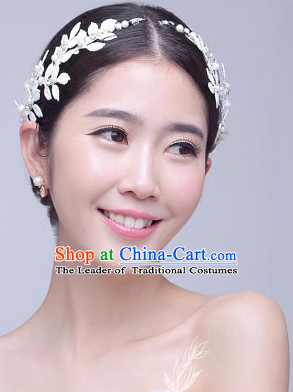 Top Grade Handmade Wedding Bride Hair Accessories Headwear, Traditional Princess Baroque White Leaf Hair Clasp Headpiece for Women