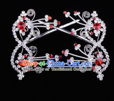 Chinese Ancient Peking Opera Head Accessories Diva Red Crystal Bowknot Hairpins, Traditional Chinese Beijing Opera Princess Hua Tan Hair Clasp Head-ornaments