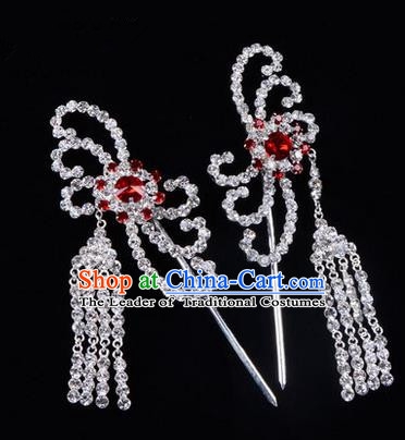 Chinese Ancient Peking Opera Head Accessories Diva Red Crystal Hairpins Tassel Step Shake, Traditional Chinese Beijing Opera Princess Hua Tan Hair Clasp Head-ornaments
