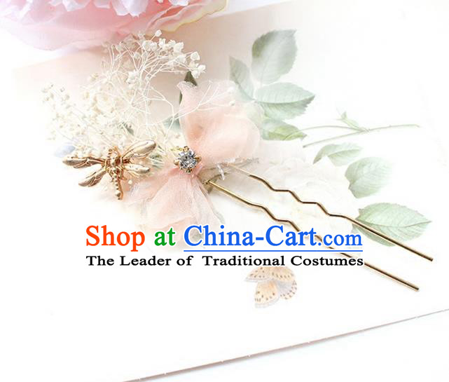 Top Grade Handmade Wedding Bride Hair Accessories Hairpin, Traditional Princess Baroque Feather Hair Claw Headpiece for Women