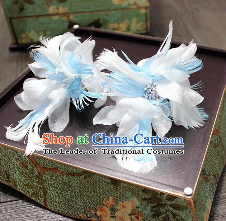 Top Grade Handmade Wedding Bride Hair Accessories Hairpins, Traditional Baroque Queen Blue Feather Hair Stick Wedding Headpiece for Women