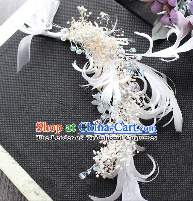 Top Grade Handmade Wedding Bride Hair Accessories Hair Stick, Traditional Baroque Queen Feather Hairpins Wedding Headpiece for Women