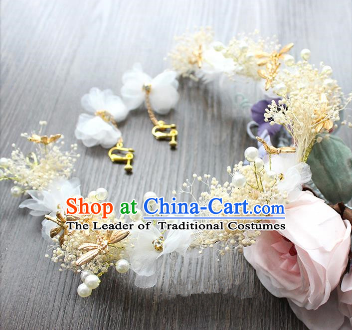 Top Grade Handmade Wedding Bride Hair Accessories Hair Clasp, Traditional Baroque Queen Feather Hairpins and Earrings Wedding Headpiece for Women
