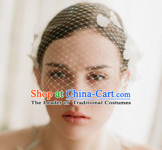 Top Grade Handmade Wedding Bride Hair Veil, Traditional Baroque Queen Lace Flower Wedding Headpiece for Women