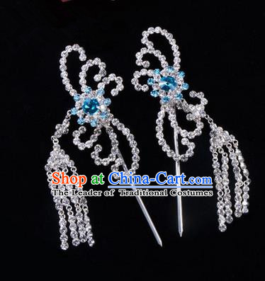 Chinese Ancient Peking Opera Head Accessories Diva Blue Crystal Hairpins Tassel Step Shake, Traditional Chinese Beijing Opera Princess Hua Tan Hair Clasp Head-ornaments