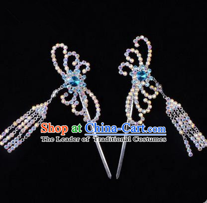 Chinese Ancient Peking Opera Head Accessories Diva Blue Colorful Crystal Hairpins Tassel Step Shake, Traditional Chinese Beijing Opera Princess Hua Tan Hair Clasp Head-ornaments