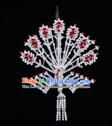 Chinese Ancient Peking Opera Head Accessories Diva Crystal Phoenix Hairpins Red Tassel Step Shake, Traditional Chinese Beijing Opera Princess Hua Tan Hair Clasp Head-ornaments