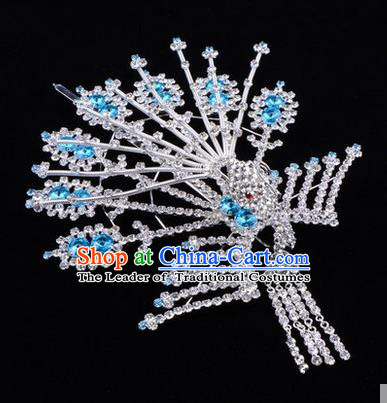 Chinese Ancient Peking Opera Head Accessories Diva Crystal Phoenix Hairpins Blue Tassel Step Shake, Traditional Chinese Beijing Opera Princess Hua Tan Hair Clasp Head-ornaments