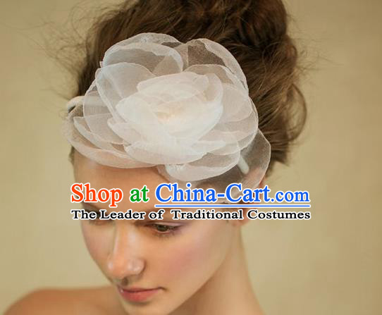 Top Grade Handmade Wedding Bride Hair Accessories Headwear, Traditional Princess Baroque Silk Flower Hair Clasp Headpiece for Women