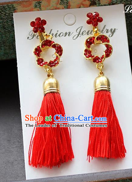 Top Grade Handmade China Wedding Bride Accessories Red Tassel Earrings, Traditional Princess Xiuhe Suit Wedding Crystal Eardrop for Women