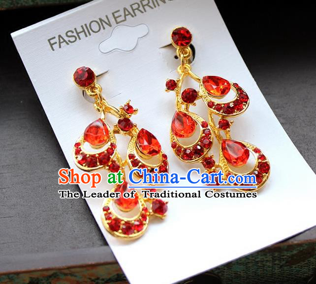 Top Grade Handmade China Wedding Bride Accessories Red Earrings, Traditional Princess Xiuhe Suit Wedding Crystal Eardrop for Women