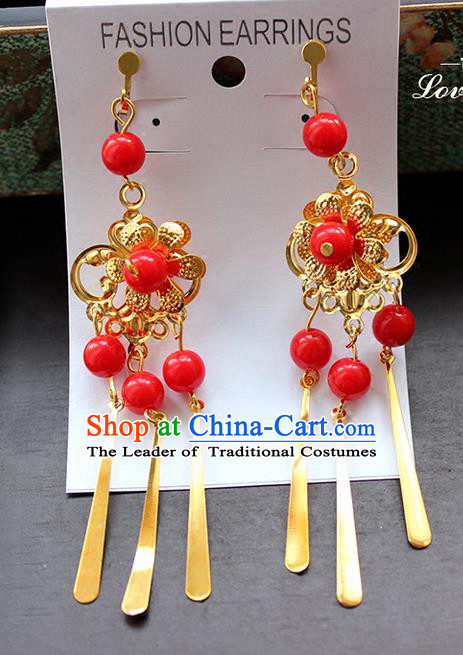 Top Grade Handmade China Wedding Bride Accessories Red Beads Earrings, Traditional Princess Xiuhe Suit Wedding Tassel Eardrop for Women