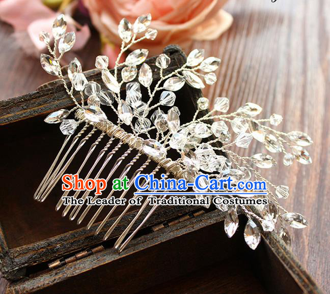 Top Grade Handmade Wedding Bride Hair Accessories Headwear, Traditional Princess Crystal Wedding Headpiece Hair Comb Jewelry for Women
