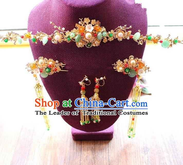 Top Grade Chinese Handmade Wedding Jade Hair Accessories Complete Set, Traditional China Xiuhe Suit Bride Hanfu Tassel Hairpins Headwear for Women