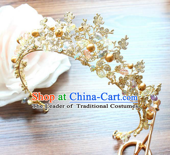 Top Grade Handmade Wedding Bride Hair Accessories Luxury Pearl Crown, Traditional Baroque Princess Crystal Royal Crown Wedding Headwear for Women