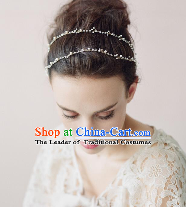 Top Grade Handmade Wedding Bride Hair Accessories Hair Clasp, Traditional Princess Baroque Headpiece Hair Band for Women