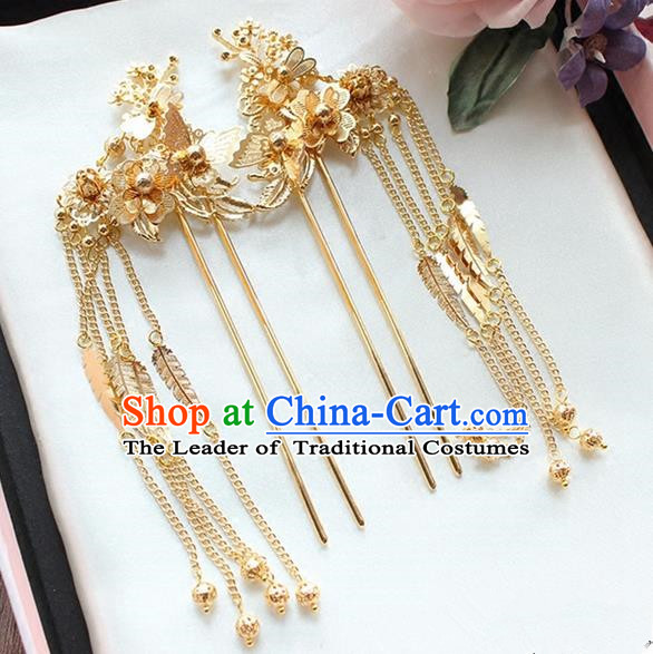 Top Grade Chinese Handmade Wedding Hair Accessories, Traditional China Xiuhe Suit Bride Hanfu Tassel Hairpins Headwear for Women