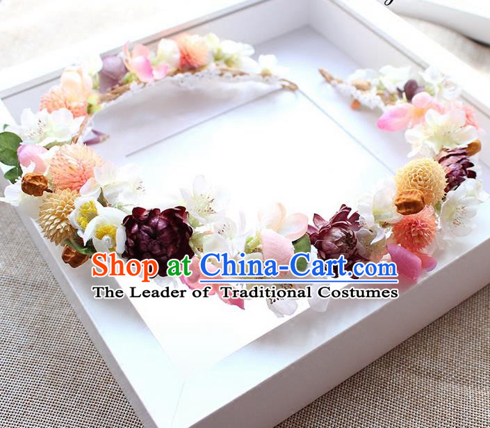 Top Grade Handmade Wedding Bride Hair Accessories Garland, Traditional Princess Wedding Hair Clasp for Women