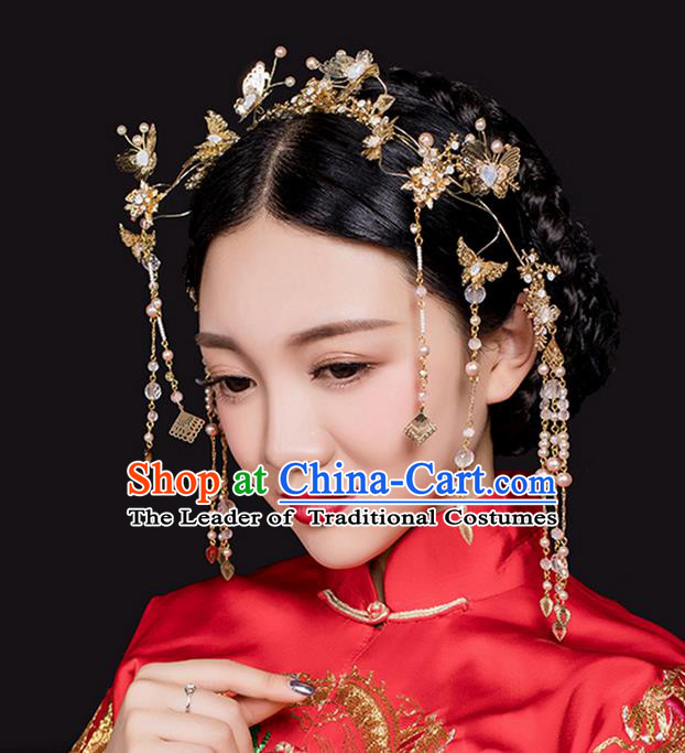 Top Grade Chinese Handmade Wedding Hair Accessories Complete Set, Traditional China Xiuhe Suit Bride Hair Clasp Hanfu Tassel Hairpins Headwear for Women