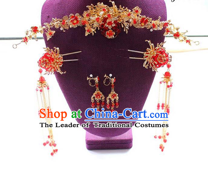 Top Grade Chinese Handmade Wedding Hair Accessories Complete Set, Traditional China Xiuhe Suit Bride Forehead Ornament Hair Clasp Hanfu Tassel Hairpins Headwear for Women