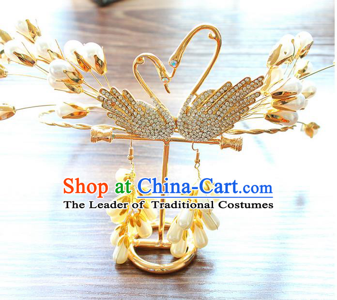 Top Grade Handmade Wedding Bride Hair Accessories Swan Hair Band, Traditional Princess Wedding Golden Hair Clasp Headwear for Women