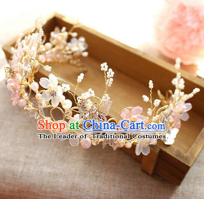 Top Grade Handmade Wedding Bride Hair Accessories Hair Band, Traditional Princess Wedding Crystal Hair Clasp Headwear for Women