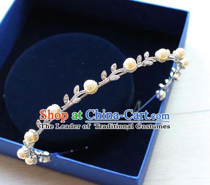 Top Grade Handmade Wedding Bride Hair Accessories Tuck Comb, Traditional Princess Wedding Pearl Hair Clasp Headwear for Women
