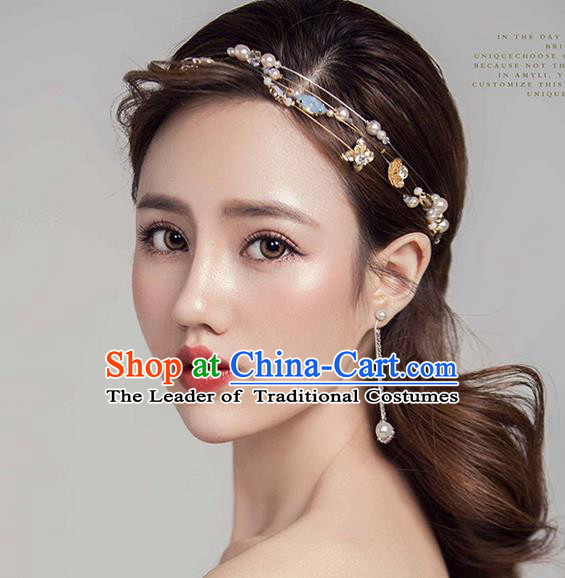 Top Grade Handmade Wedding Bride Hair Accessories Hair Clasp, Traditional Princess Wedding Pearl Opal Headwear for Women
